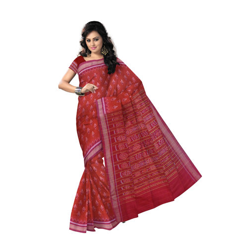 OSS7508: Deep Reddish Brick color Handloom Cotton saree for international buyer| Made in odisha