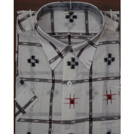 Handloom Sambalpuri Cotton Half Shirt in White with Black AJ001181