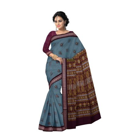 AJ000123: Sea Green with Maroon Handloom Bomkai Cotton saree with Blousepiece