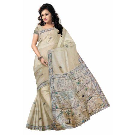 OSS20093: Offwhite Patachitra Silk sari saree for party wear