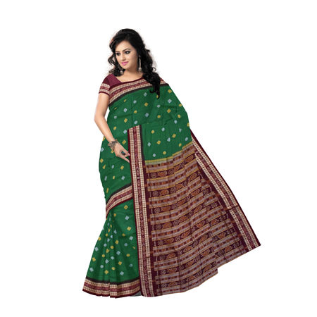 Small Flower design Handwoven Green Bomkai Cotton Saree Odisha Sonepur AJ00104