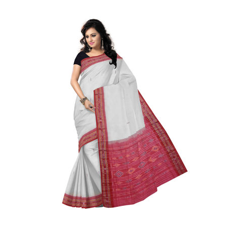 OSS7456: Unique piece red-white buti design handmade cotton saree AJ000063
