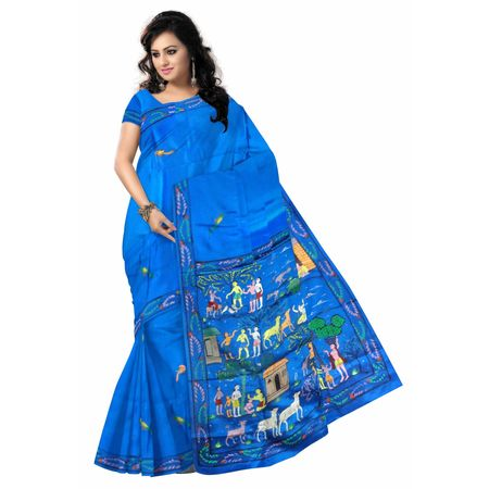 OSS20080: Blue color Odisha Phatachitra hand painted saris for party wear