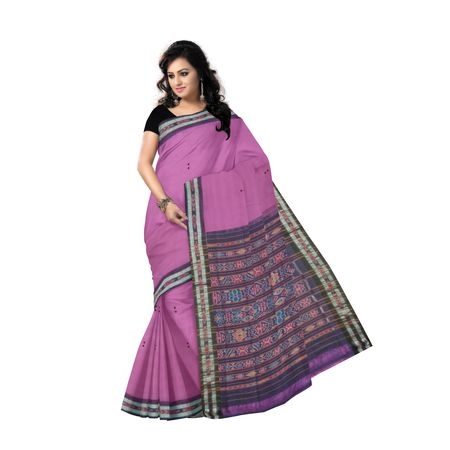 OSS9131: Purple-Black Buti Design Sambalpuri Cotton Saree