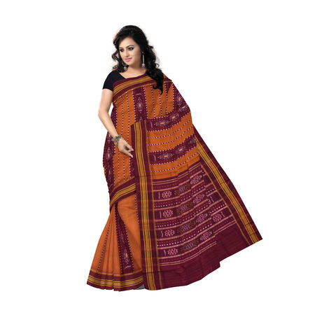 OSS7493: Handmade Deep Mustard Bomkai Design Cotton saree