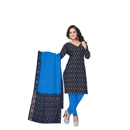Unstitched Women's Handloom Grey with Sky Blue Ponchampally Ladies cotton Dress Material with Dupatta AJ001337