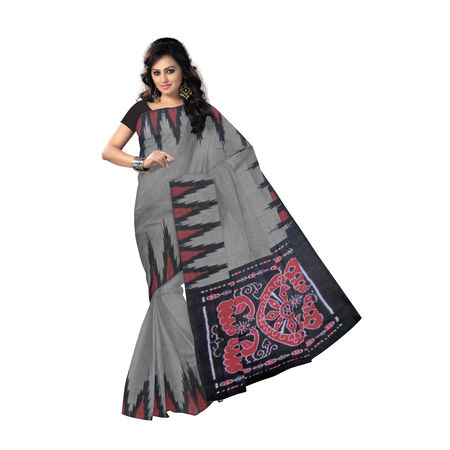 OSS3581: Grey with Black Handloom Cotton Saree