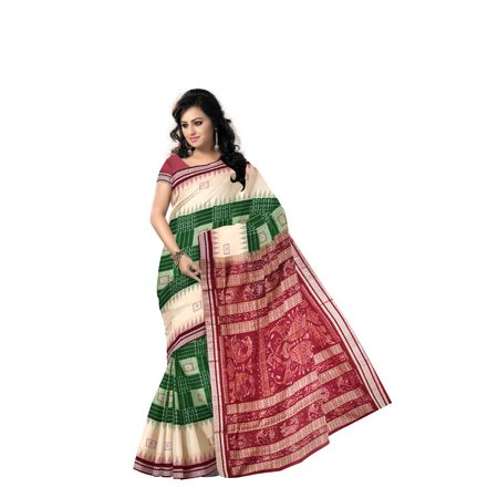Green with Maroon Handloom Bomkai Design Cotton saree with Blouse Piece AJ001220