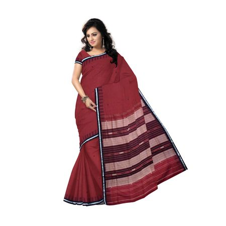 Maroon with Black Handwoven Siminoi Cotton saree of odisha AJ115
