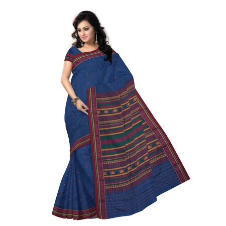 OSS9127: Natural Weave Blue Dongria cotton saree