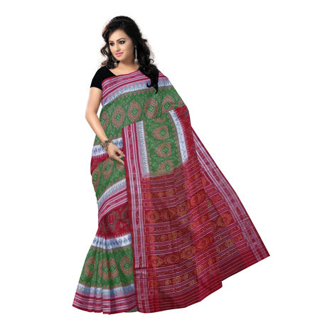 OSS2024: Flower design Olive Green with Red Cotton Saree