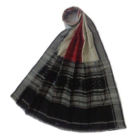 OSS167: Beautiful white-red Ikat design cotton dupatta