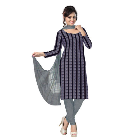 OSS1030: Beautiful Traditional Navy Blue & Light Blue Traditional Ikat(tie & dye) cotton Dress Material