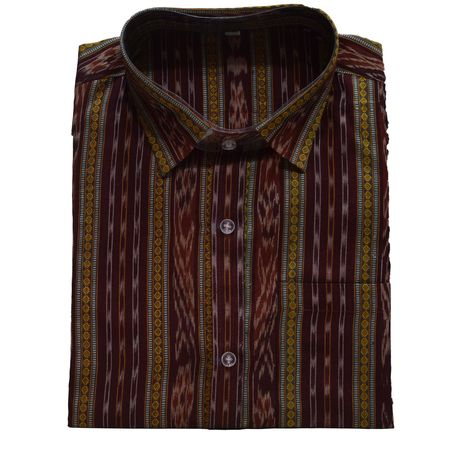 Handwoven Maroon Sambalpuri Ikat Gents Cotton Shirt AJ001146