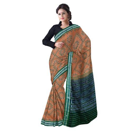 OSS4001: Light Brown color Best Sambalpuri handloom cotton saree made in odisha
