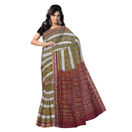 OSS9103: Light Brown with Maroon special design handloom Cotton Saree.