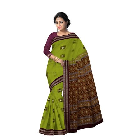 AJ000124: Parrot Green with Maroon Handloom Bomkai Cotton saree with Blousepiece