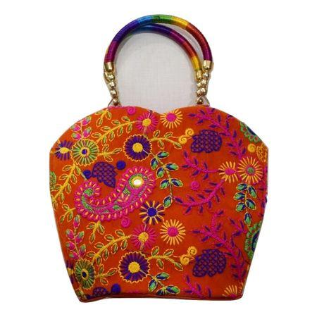 Embroidery Design With Mirror Work Pipili Handmade Hand purse AJ001641