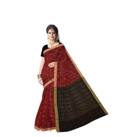 Maroon With Black Handloom Rayagadi Lining Cotton Saree Of Odisha AJ001432