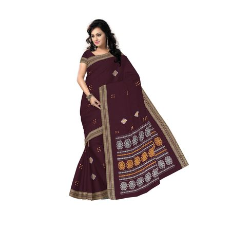 Deep Maroon With Yellow Handloom Rayagadi Padam Cotton Saree Of Sambalpur Odisha AJ001492