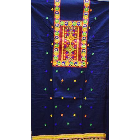 Deep Blue With Orange Bandhani design Handloom Cotton silk Dress Material of Banaras AJ001786
