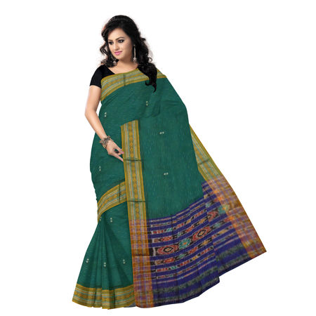 OSS7557: Buti Jharana design Green Simple Indian cotton sarees