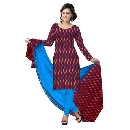 OSS6200: Maroon with blue color ladies dress materials.