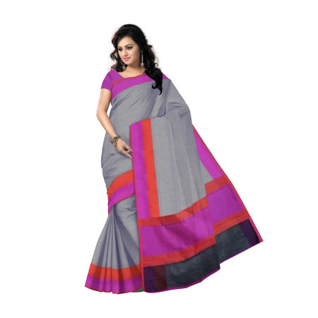 OSSUP101: Banarasee Cotton Silk Tanchoi Weave Saree With Contrast Woven Border-Grey