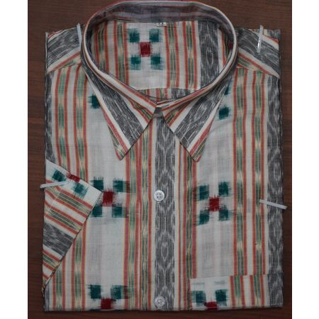 Handloom Pasapalli Sambalpuri Cotton Half Shirt in White with Green AJ001191