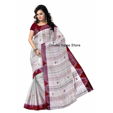 OSS458: White color Handwoven cotton new collection of Kotpad sarees