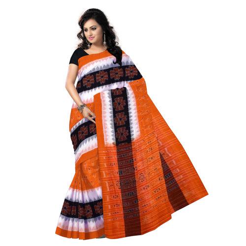 OSS7488: Orange Kaniara Kadha design pure Cotton handwoven sari