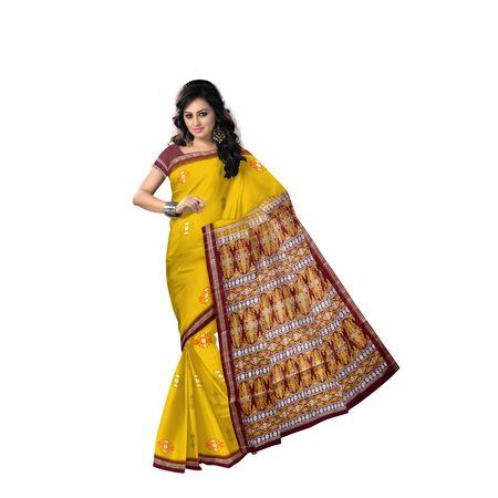 Deep Yellow With Maroon Handloom Padam Cotton Saree Of Odisha Sambalpur AJ001520