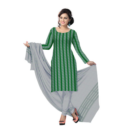 OSS2004: Beautiful Traditional Light Green & White Traditional Ikat(tie & dye) cotton Dress Material