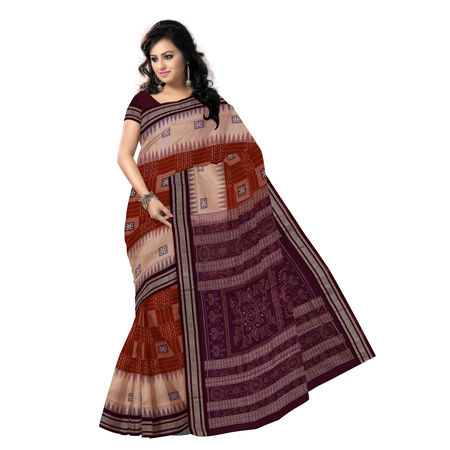 OSS7420: Exclusive Brown-Sandal colour handmade bomkai Cotton Saris