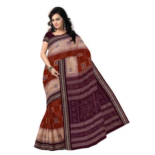 OSS7420: Exclusive Brown-Sandal colour handmade bomkai Cotton Saris