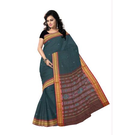 OSS7319: Deep Green with Maroon Bomkai Buti design Sambalpuri handloom cotton sarees