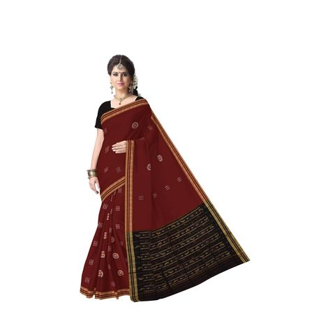 Maroon With Black Handloom Rayagadi Padam Cotton Saree Of Odisha AJ001429