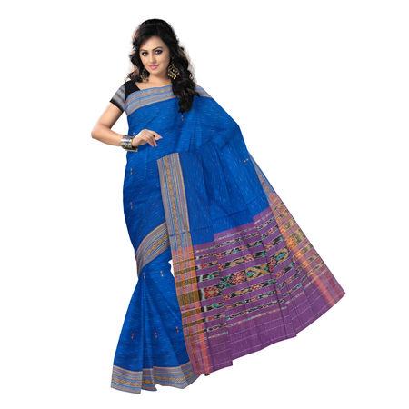 OSS9114: Blue Jharana Buti design Sambalpuri Cotton Saree
