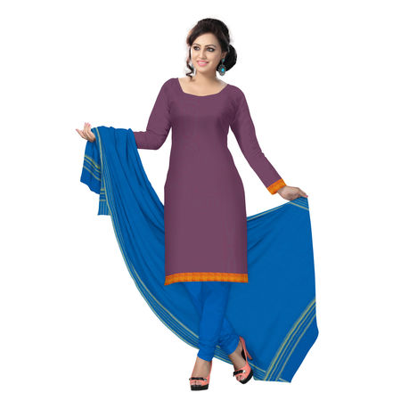 OSSTG6232: HandLoom Blue with Red Mangalagiri Ladies Cotton Dress Material Sets