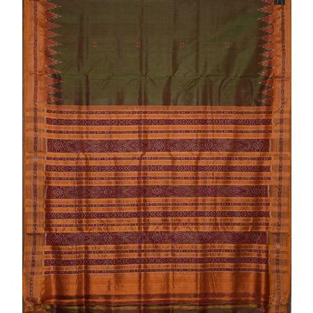 Light Green with Orange Ikat handloom Silk saree of Odisha Nuapatna AJ001301