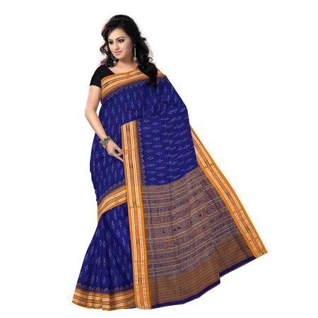 OSS7524: Ethnic Ikat design ink blue colour handmade cotton saree
