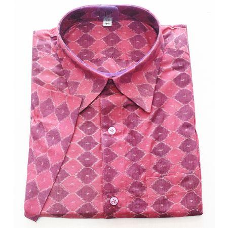 Maroon With Multi Handloom Half Shirt for Men Made in Odisha Sambalpur AJ001769