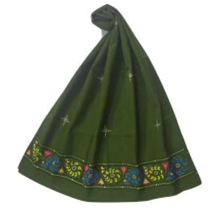 OSS300065: Green Color handicraft patachitra dupatta.