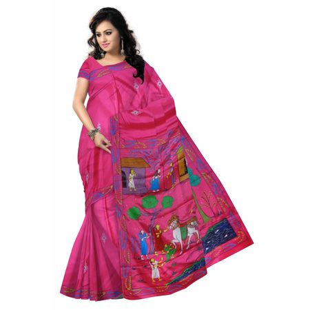 OSS300117: Deep rani color village scenery sari online shopping.