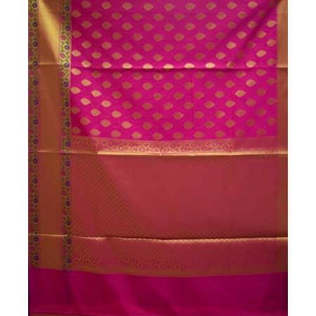 Pink With Golden Handloom Banaras cotton Silk Saree of Uttar Pradesh AJ001564