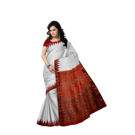 Plain Buti Design Tusser With Deep Orange Handloom Silk Saree of Odisha, Nuapatana AJ001563