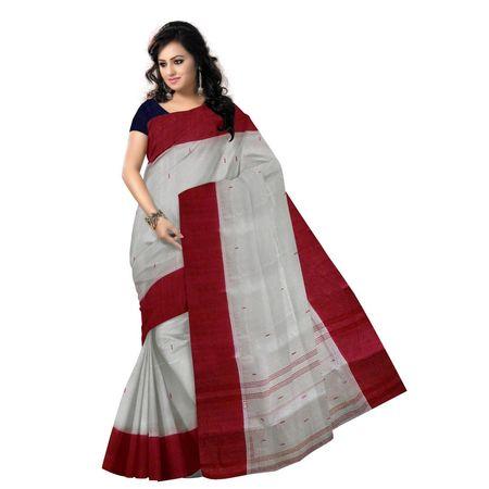 OSSWB113: Kolkata Lal paar sadha handloom Saree