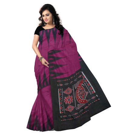 OSS004: Magenta and Black Handloom Traditional Cotton Saree