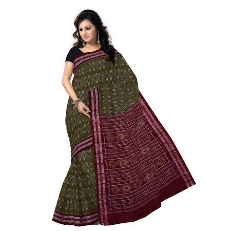 OSS1007: Olive-Maroon combination hand woven Ikat cotton saree
