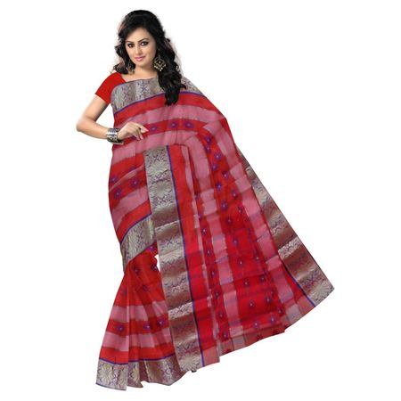 OSSWB90016: Red color Tant cotton saree with Golden border